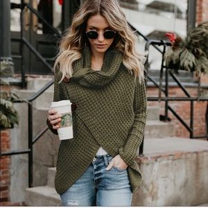 Waffle Knit Button Wrap Top in Green FLASH SALE